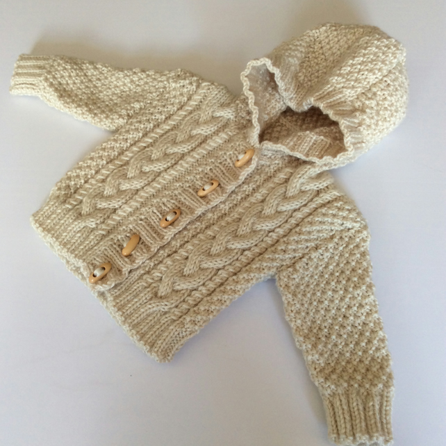 Baby Aran Cardigan with hood - Birth to 6 months
