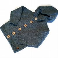 "Baby Boy's Denim Blue Handknitted Hooded Cardigan to fit 18"" chest"