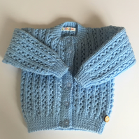 Girl's Blue Lacy Cardigan - Age 12 - 18mths approx