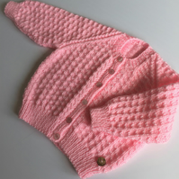 Classic baby cardigan in pink 0 -9mths approx