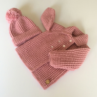 Baby coat and hat set - newborn to 3 months approx