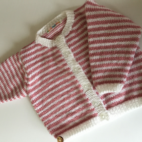 Baby Girl's cardigan - pink and white striped - 6-12mths