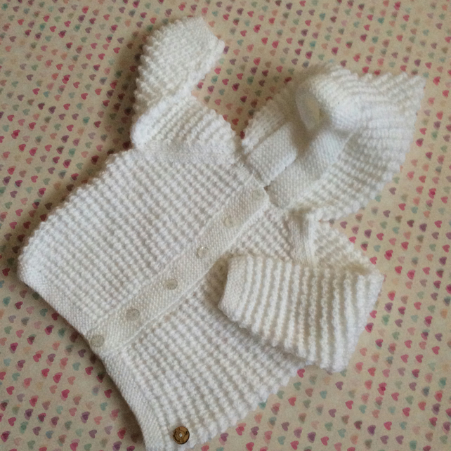 Baby Coat with hood in white 6 - 12 months hand knitted