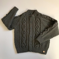 Boy's grey cable cardigan to fit age 2 - 3 yrs approx