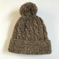 Hand knitted child's brown marl hat with pompom to fit age 4 - 7 years