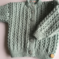 Baby Girl's hand knitted lacy cardigan - age 6 - 12mths approx