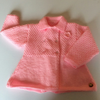 Baby coat - hand knitted to fit up to 9 months