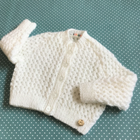 Baby Girl's Lacy White Cardigan - Age 6 - 12mths approx