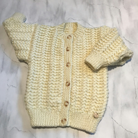 Girl's Aran Cardigan - hand knitted - to fit age 2- 3 years approx