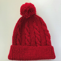 Hand knitted Child's bright red cabled bobble hat - age 4 -7 years