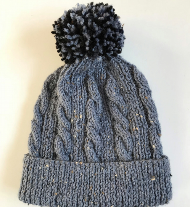Hand knitted child's grey marl hat with pompom to fit age 4 - 7 years approx