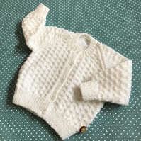 Baby cardigan - hand knitted to fit 0-6mths approx