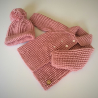 Baby Hat and Coat set to fit up to 6 mths approx