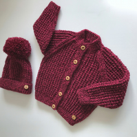 Hand knitted Baby Cardigan and matching Bobble Hat - to fit up to 9mths approx