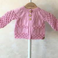 Baby Girl's hand knitted cardigan in pink -0 - 3 months approx