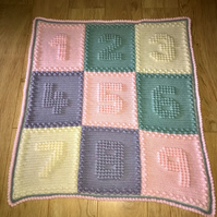 Hand Crocheted Number Blanket for Baby - can be made to your colour choice