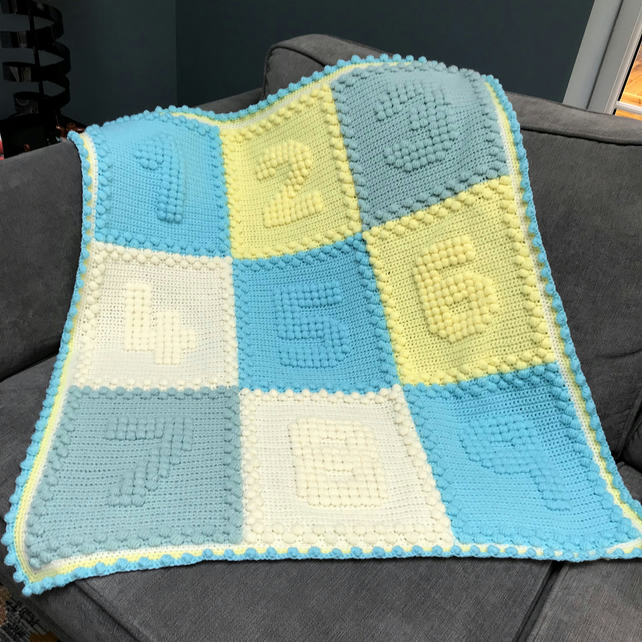 Baby blanket - hand crocheted number blanket - choose your colours