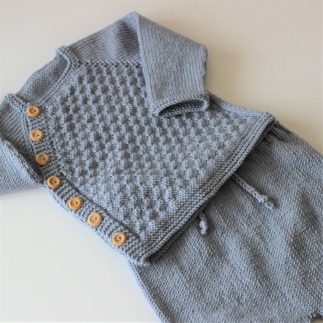 Hand knitted Baby Boy's blue jumper and shorts set to fit up to 9 months approx