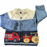 Hand knitted Boy's cardigan with fire engine and tractor design age 1 - 2 yrs