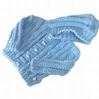 Hand knitted Boy's Aran Hooded Cardigan aged 6 - 12 months