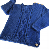 Hand knitted Boy's jumper in Royal Blue to fit age 2 - 3 years
