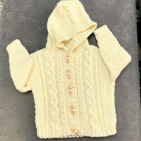 Hand knitted Girl's Aran Hooded Cardigan age 1 - 2 years in Cream