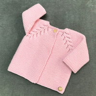 Hand knitted Pink Baby Coat to fit from 0 - 6 months
