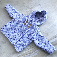 Hand knitted White, Blue Mingled Baby Boy HoodedCoat to fit from 0 - 3 months