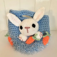 Crocheted Child's Basket with rabbit