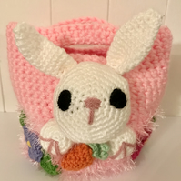 Crocheted Child's Basket with Bunny