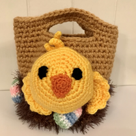 Crocheted Child's Basket with Chick