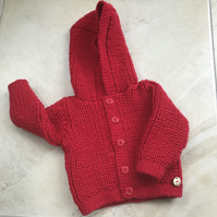 Hand knitted Red Hooded Cardigan to fit up to 9 months