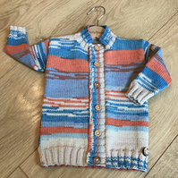 Hand Knitted Boy's Cardigan age 6-12 months - longer length