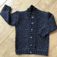Hand Knitted Boy's Cardigan age up to 9 months in blue grey