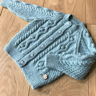 Hand Knitted Boy's Cardigan age up to 12 months in duck egg blue