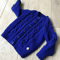 Hand Knitted Boy's Cardigan age up to 12 months in royal blue