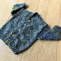 Hand Knitted Boy's Cardigan age up to 12 months in blue green tweed