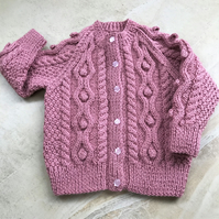 Hand Knitted Girl's Cardigan age up to 12 months in dusky pink