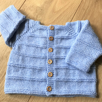 Hand knitted baby boy's cardigan to fit up to 9 months