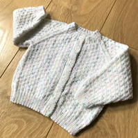 Hand knitted baby cardigan to fit up to 12 months