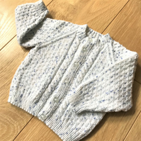 Hand knitted boy's baby cardigan to fit up to 12 months