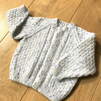 Hand knitted baby boy's cardigan to fit up to 3 months