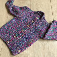 Hand knitted girl's cardigan to fit 1 - 2 years