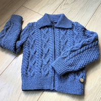 Hand Knitted Boy's Zip up Cardigan with collar age 2 - 3 years