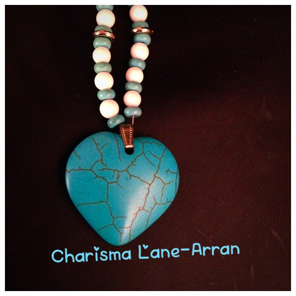 Aqua Crackled Heart Pendant on Ceramic Beaded Necklace