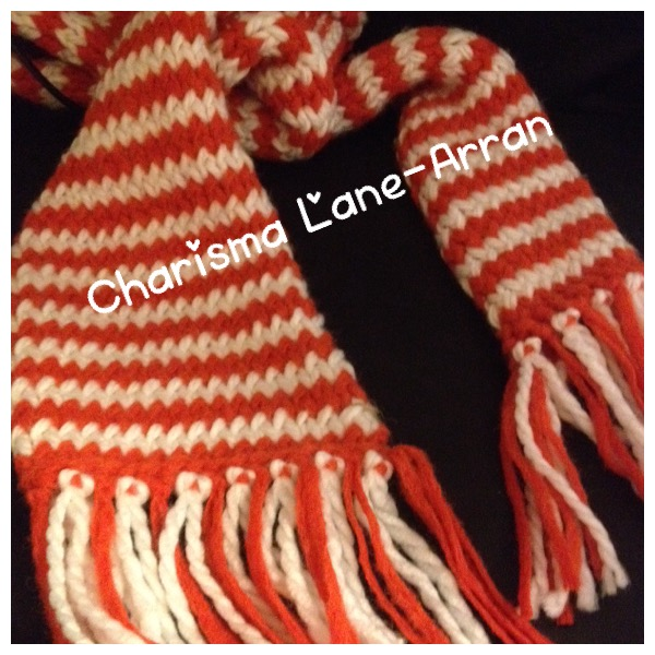 Hand knitted chunky candy cane scarf