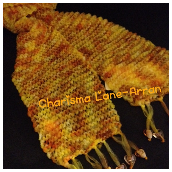 Hand knitted Lightweight Autum toned heart scarf