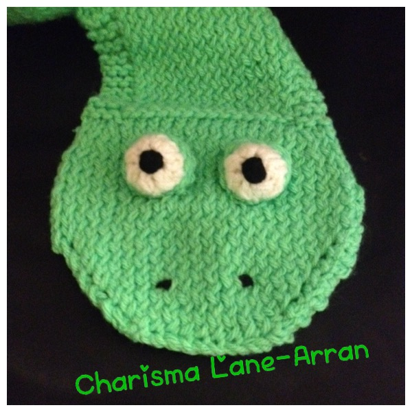 Hand knitted kids cheeky frog scarf