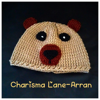 Hand knitted cosy bear hat