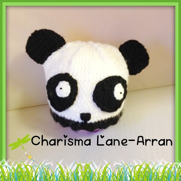 Hand knitted Kids Panda hat